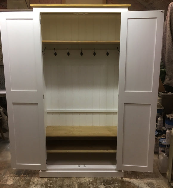 NEW 2 door Hallway, Utility, Cloak Room Storage Cupboard with Coat Hooks and 3 Shelves (35 cm deep) ALL SIZE VARIATIONS - Option 1