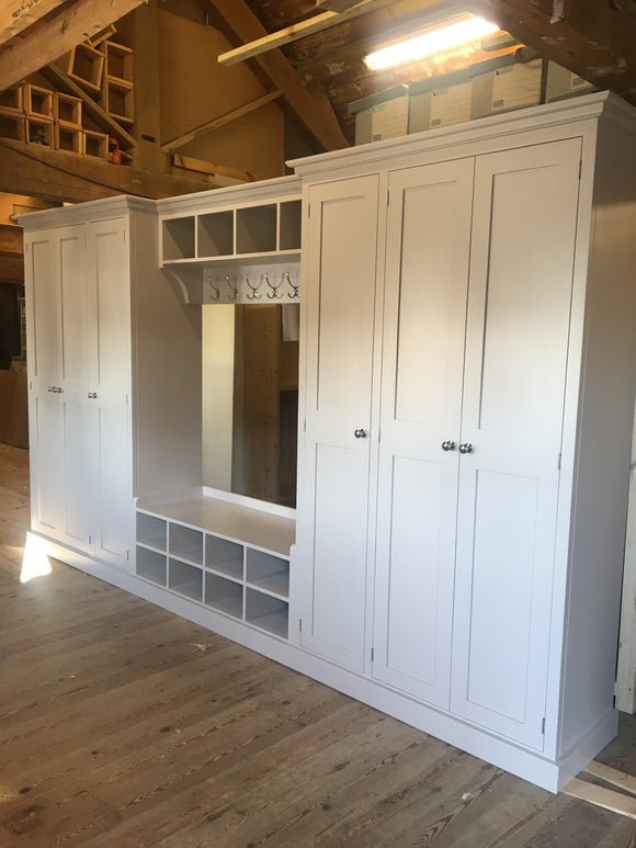 6 Door Hall, Utility Room, Cloak Room Storage Cupboard with Bench and Coat Rack - Bespoke Service