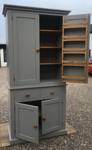2 m HIGH Kitchen 2 Door with 2 over 2 Base - Storage Larder Cupboard with Spice Racks - TRADITIONAL CORNICE