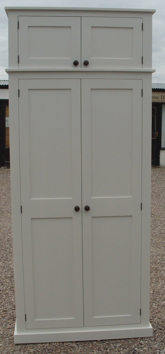 *****IN STOCK***** 100 cm wide - Hallway Cloak Room Cupboard with Hooks and Shelves and Extra Top Box Storage - OFF WHITE