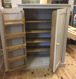 Low Larder Pantry Storage Cupboard with Spice Rack for Kitchen or Utility Room - 122 cm high