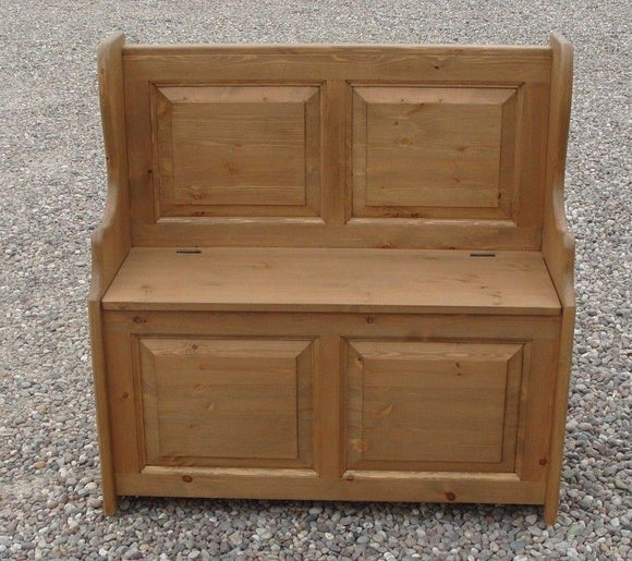 Hall Monks Bench Settle Pew Solid Pine 2 Panel with Under Seat Storage - 3' wide