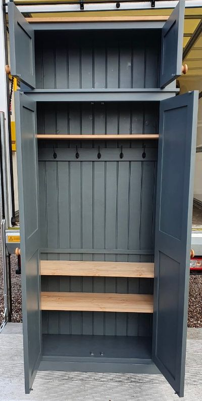 NEW 2 door Hallway, Utility, Cloak Room Storage Cupboard with Coat Hooks and 3 Shelves with EXTRA STORAGE TOP BOX (35 cm deep)