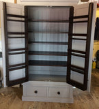 Larder Kitchen Pantry Cupboard with 2 Drawers & Spice Racks- Traditional Cornice - Dark Oak Contrast