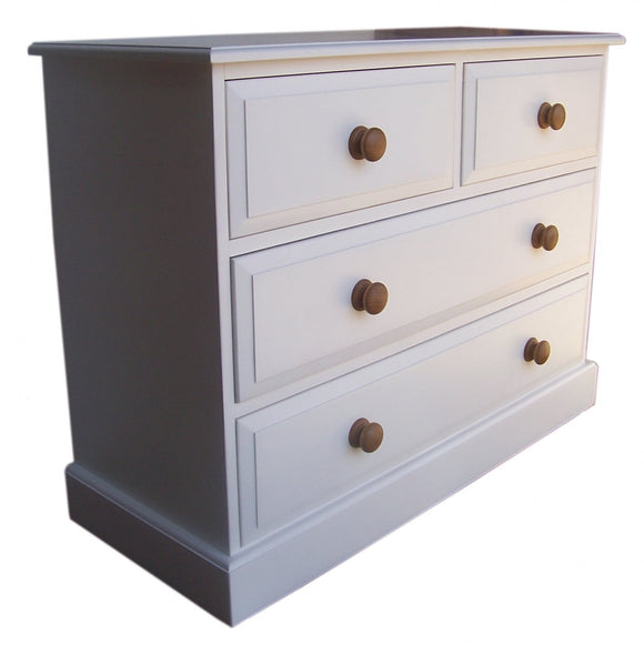Solid Pine 2 over 2 Chest of Drawers - Narrow 30