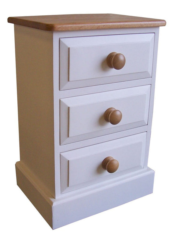Solid Pine 3 Drawer Bedside Cabinet (Medium)