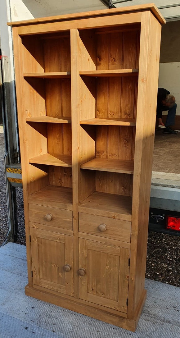 Display Storage Cabinet with 2 Drawers , 2 Doors and Adjustable Shelves (8 individual display sections)