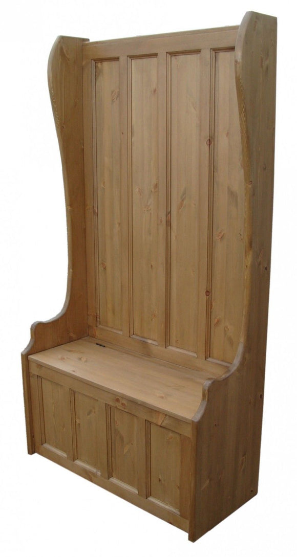 Tall Hallway Porch Settle Pew Monks Bench, with Optional Coat Hook and under storage seat