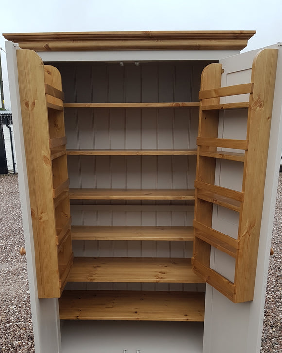 Kitchen Larder Pantry Cupboard - Fully Shelved with Spice Racks - Traditional Cornice