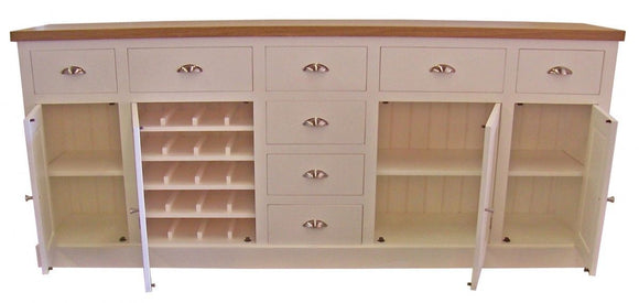 8' wide Sideboard with Contrast Top and Wine Rack - Painted with Farrow & Ball®