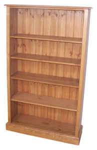 "Solid Pine Medium Bookcase - 60"" High with Adjustable Shelves"