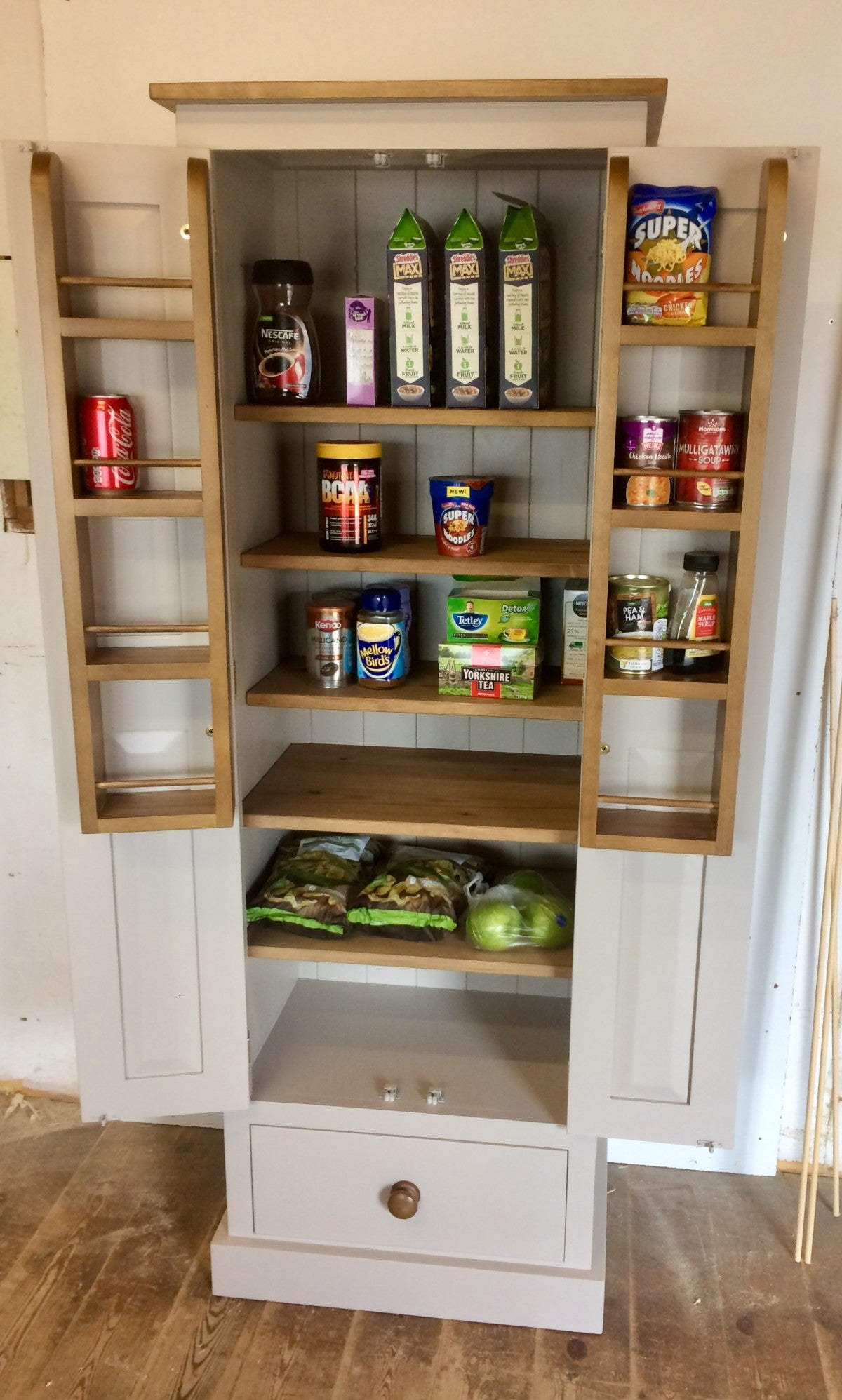 Low Kitchen Larder Pantry Cupboard With Spice Rack And