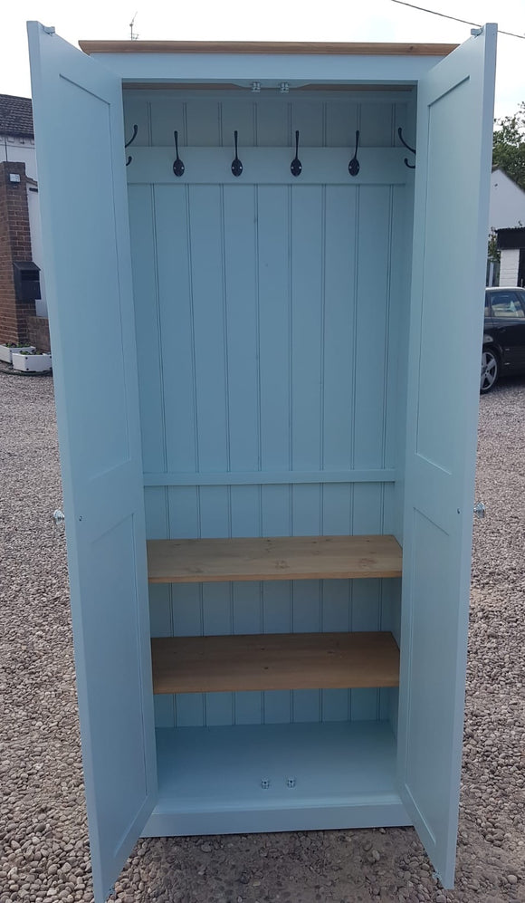 2 Door Hallway, Utility, Cloak Room Storage Cupboard with Hooks and Shelves - 40 cm deep - ALL  SIZE VARIATIONS