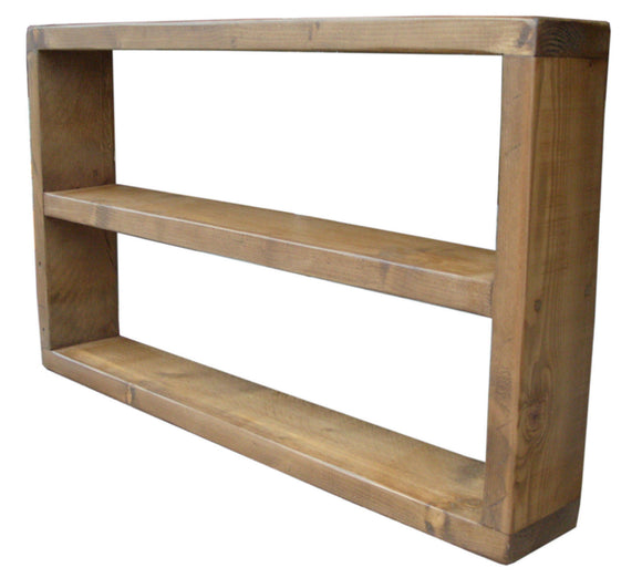 Solid Reclaimed Timber Double Wall Mounted DVD / Blu Ray / CD Paper Back Display Shelf