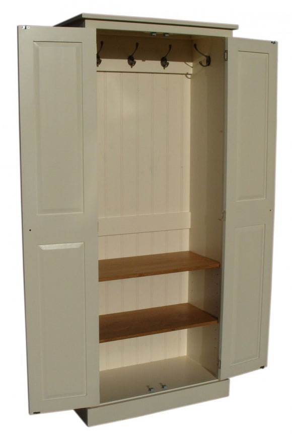 2 Door Hallway, Utility, Cloak Room Storage Cupboard with Hooks and Shelves (45 cm deep) ALL  SIZE VARIATIONS