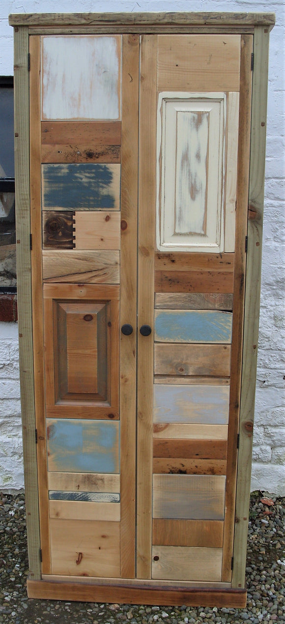 BESPOKE Kitchen Larder Pantry Cupboard with Optional Spice Rack, Reclaimed Timber