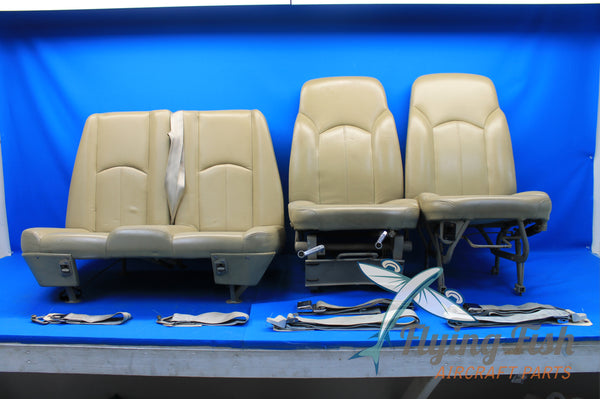 Set of Leather 1981 Cessna 172RG Seats w/ Seatbelts (20911)