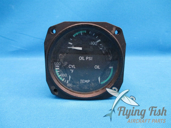 Cessna 401 Triple Engine Gauge Oil Pressure Temp C662019-0101 , 18C452-1 (18837)
