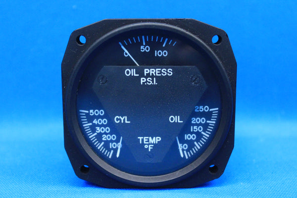 Aircraft Instruments and Development Triple Engine Gauge P/N 18-1001 (21898)