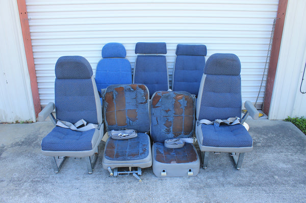 Set of Blue Cessna 414 Seats w/ Seatbelts (21404)