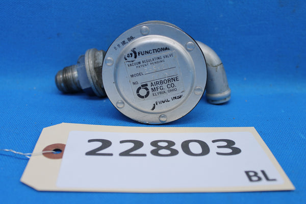 Airborne Vacuum Regulating Valve Model 2H3-21 Cessna C482001-0601 (22803)