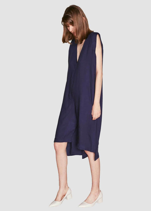 Navy Asymmetric Jumpsuit with Plunging Neckline