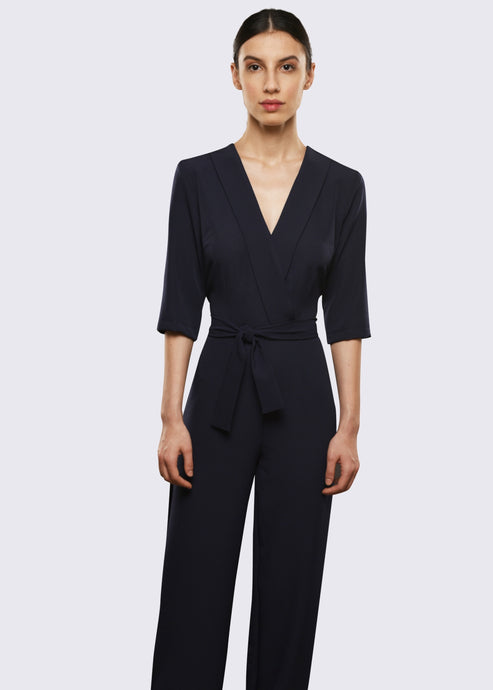 Navy Blue Jumpsuit with Plunging Neckline