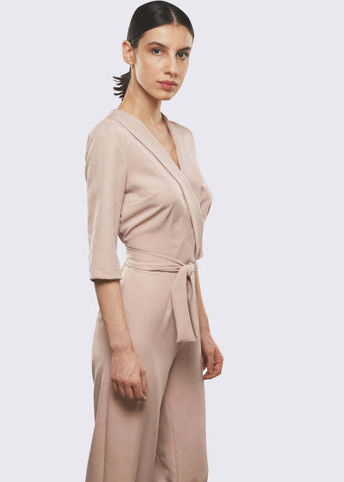 Beige Jumpsuit with Plunging Neckline