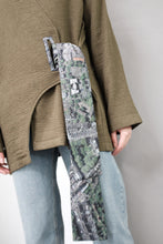 Green Wool Asymmetric Wrap Vest with Printed Cord