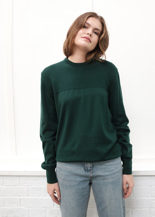 Forest Green Extrafine Merino Wool Pullover