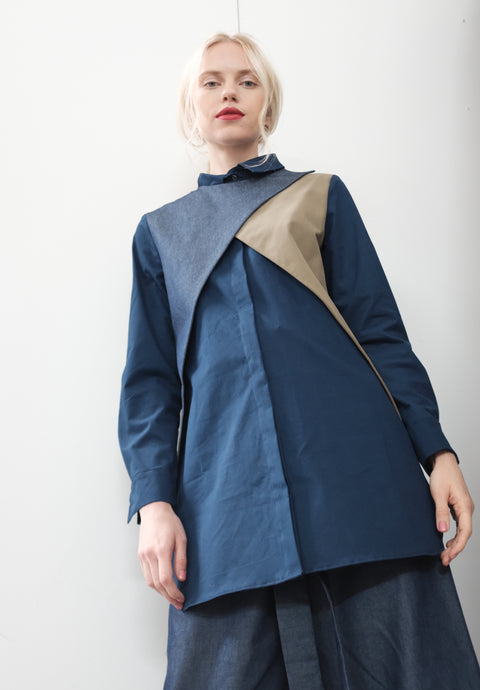 Color Block Doc Denim Wrap Shirt Dress