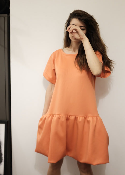 Bespoke Orange Ruffle Dress with Pockets