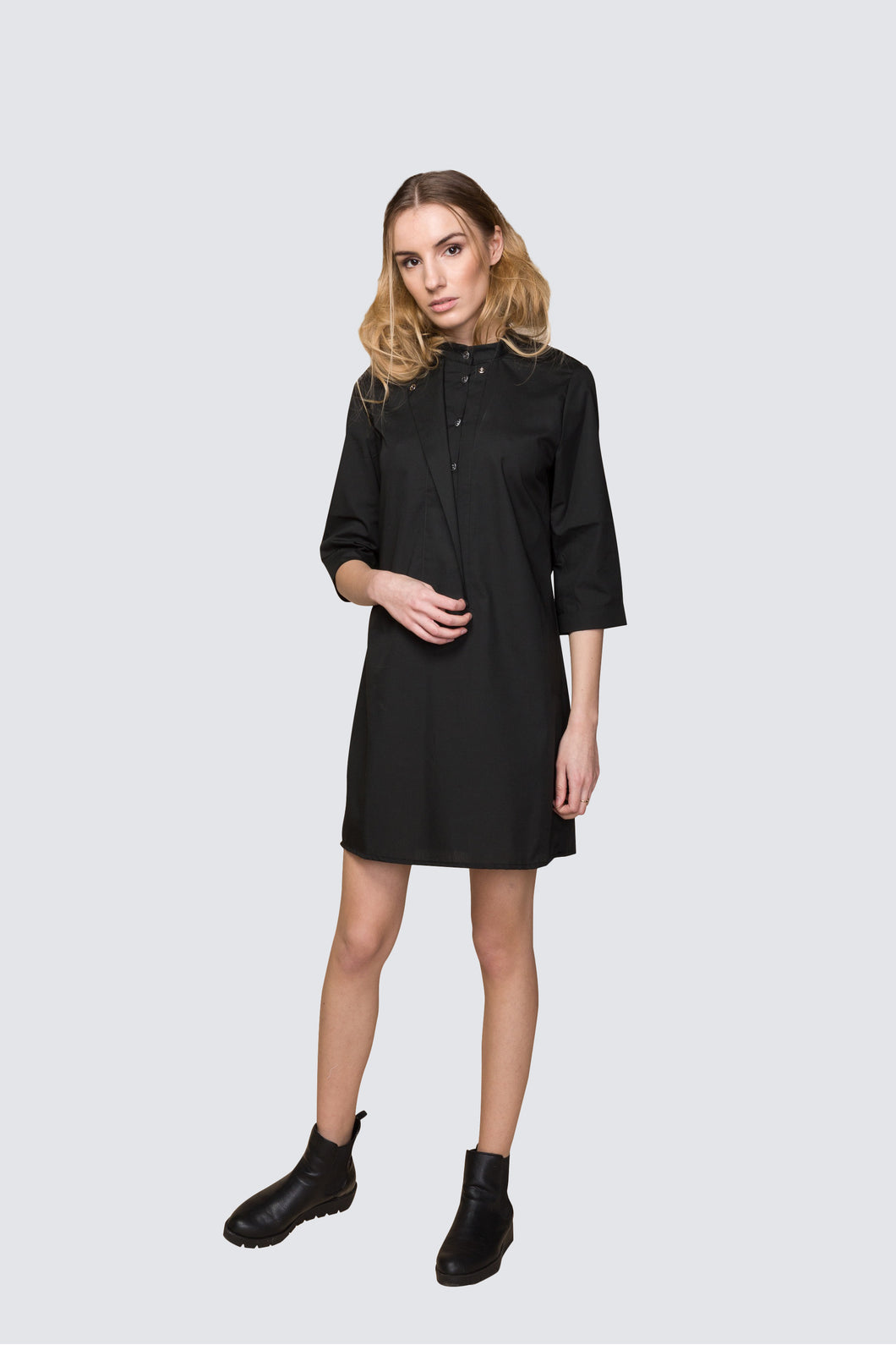 Black Poplin Mini Shop now: Acurrator minimalist RTW brand - Black Poplin Mini Shirt Dress