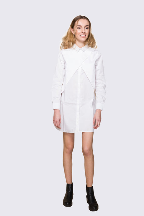 White Wrap Shirt Dress