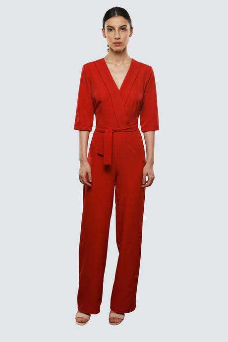Red Jumpsuit with Plunging Neckline