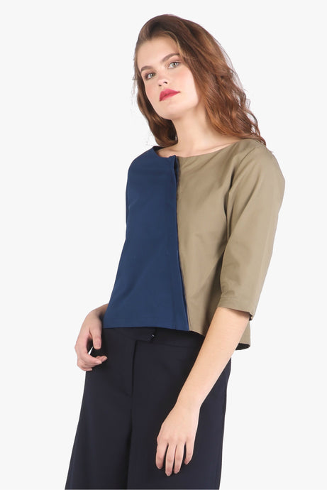 Navy Green Colour Block Asymmetric Button Down Top