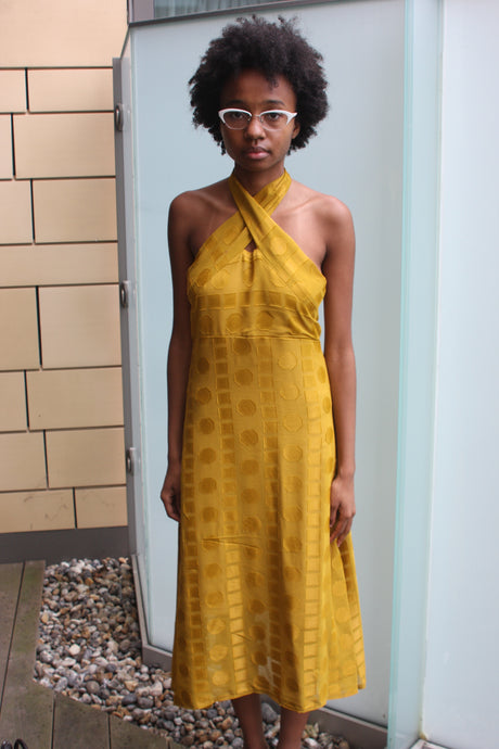 Bespoke Mustard Geometric Halter Dress