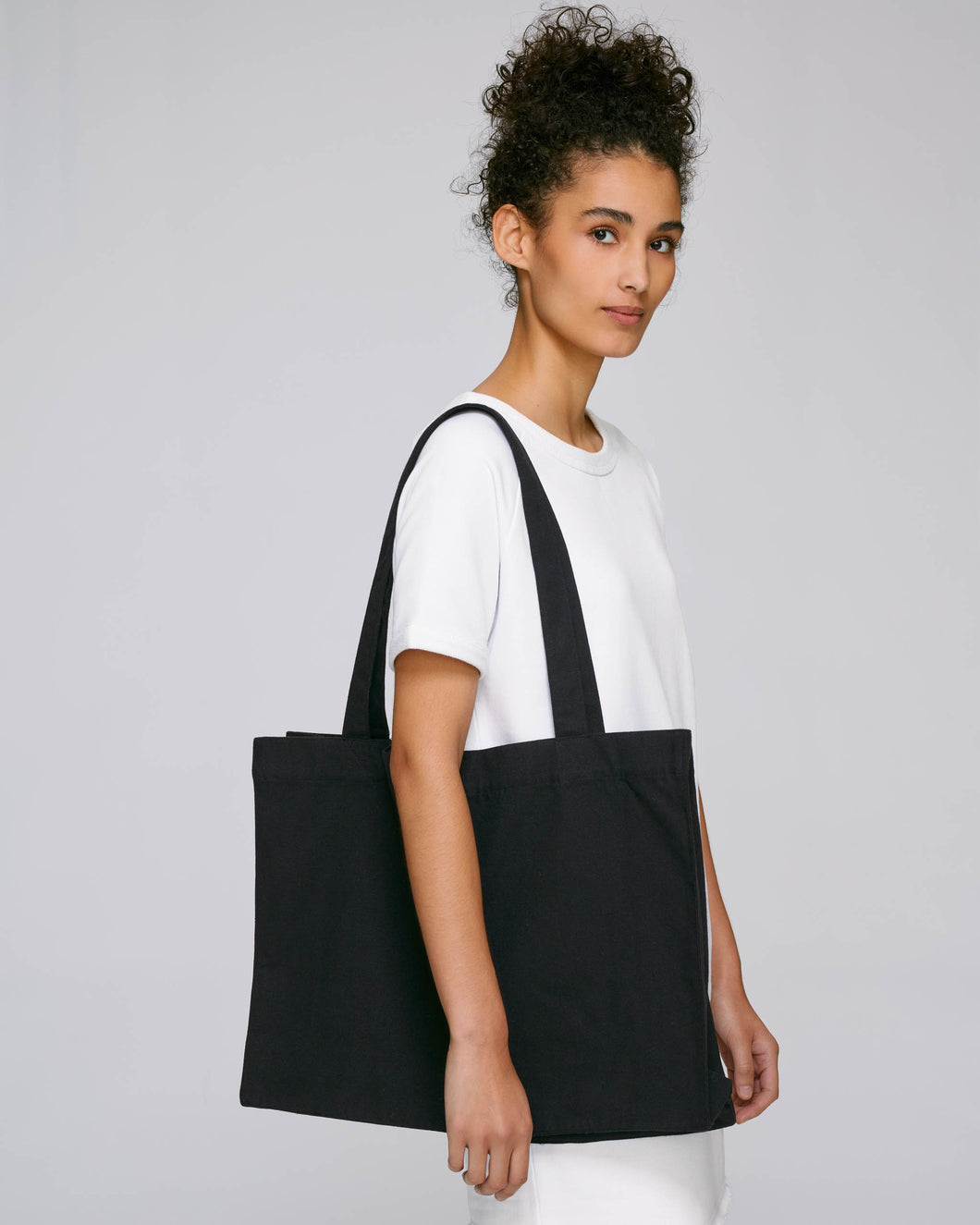 Black Recycled Oversized Tote Bag