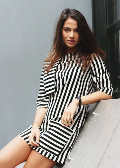 Bespoke Black White Stripes Asymmetric Mini Dress - Dresses