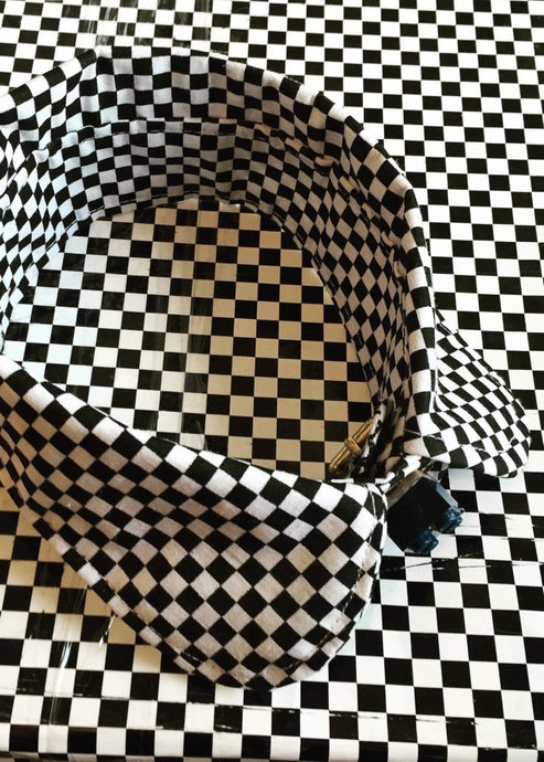 Bespoke Grid Black White Pattern Round Collar - Accessories