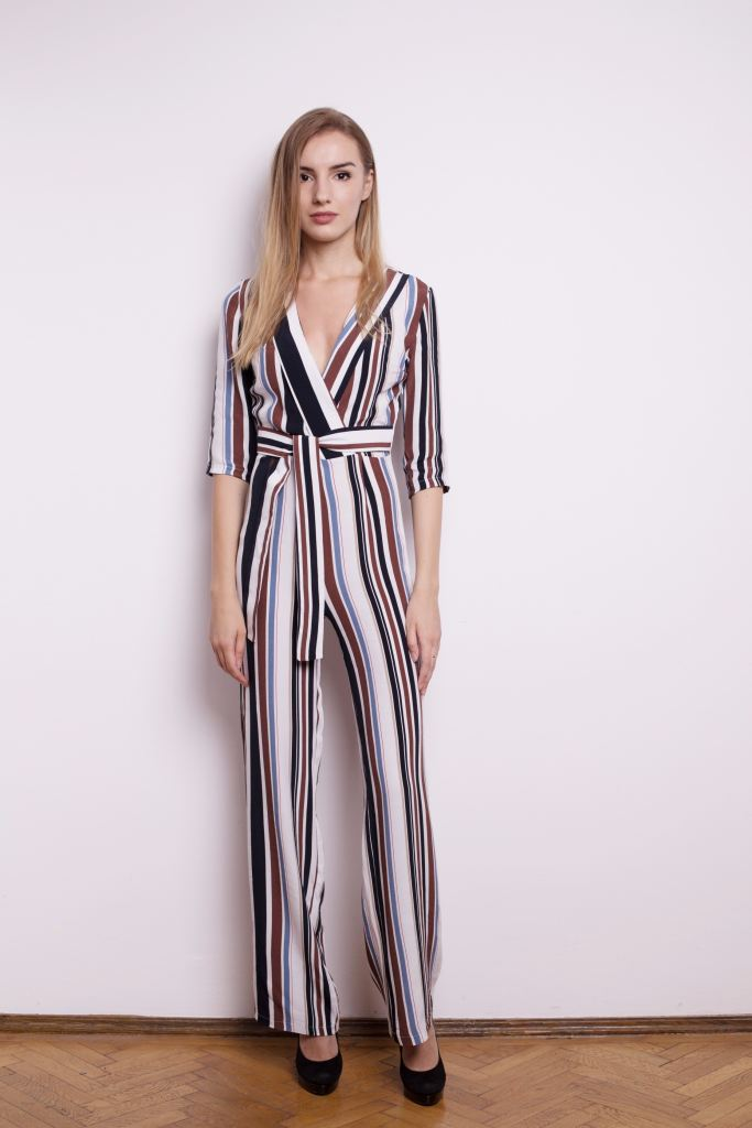Bespoke Stripes Jumpsuit With Plunging Neckline - S / Multi - Jumpsuits & Co Ordinates