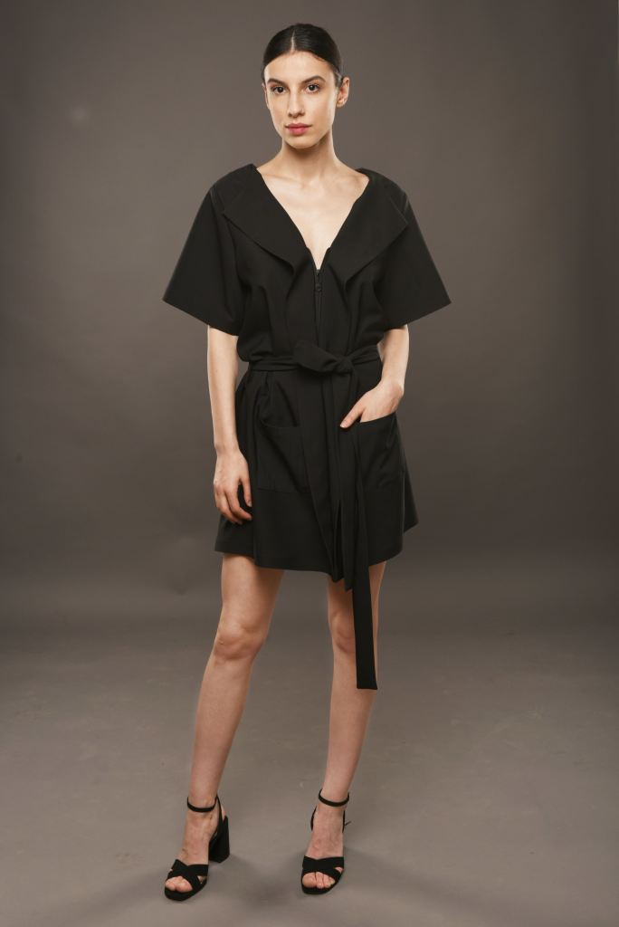 Black Mini Robe Dress With Pockets And Cord - S / Black - Dresses