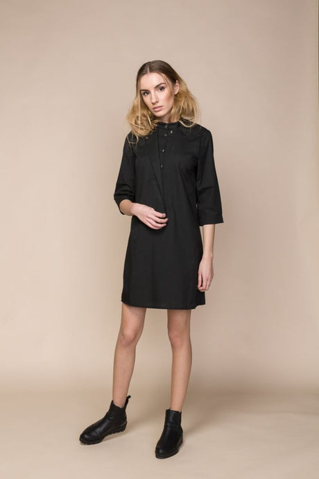 Black Poplin Mini Shirt Dress - S / Black - Dresses