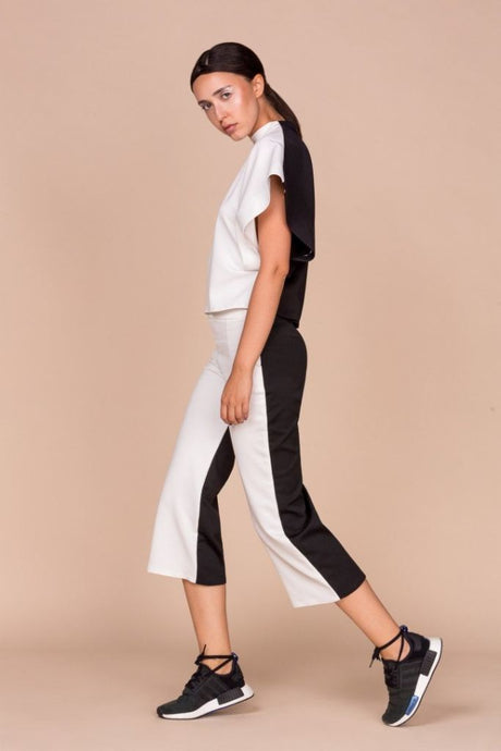 Black White Top Culottes Co Ordinates - S / White - Jumpsuits &