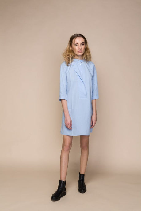 Blue Poplin Mini Shirt Dress - S / Baby Blue - Dresses
