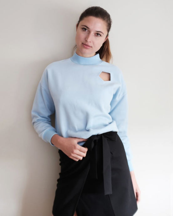 Clear Blue Mock Neck Pullover With Cut Out Pocket - S / Clear Blue - Tops & Shirts