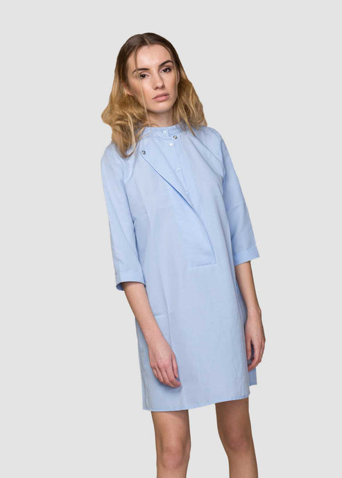 Blue A Line Shirt Dress