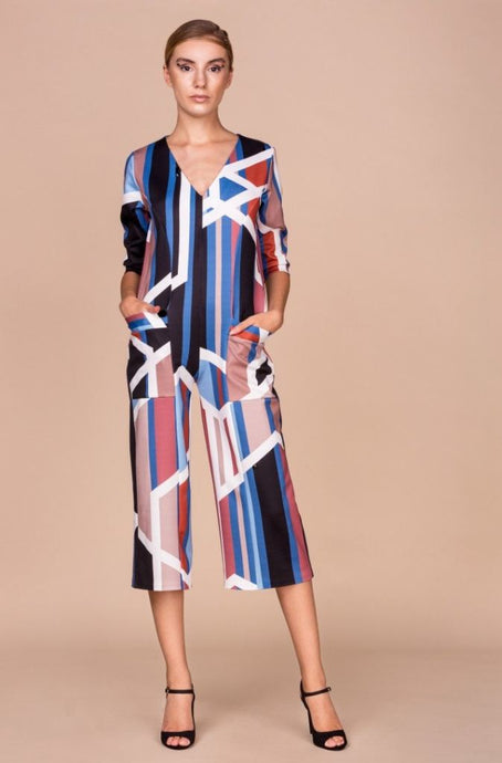 Geometric Print Culottes Jumpsuit - Jumpsuits & Co Ordinates