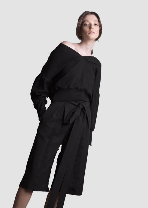 Black Culottes with Pleats and Pockets