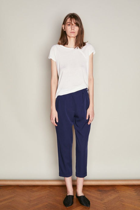 Navy High Waist Trousers With Pleats - S / Navy